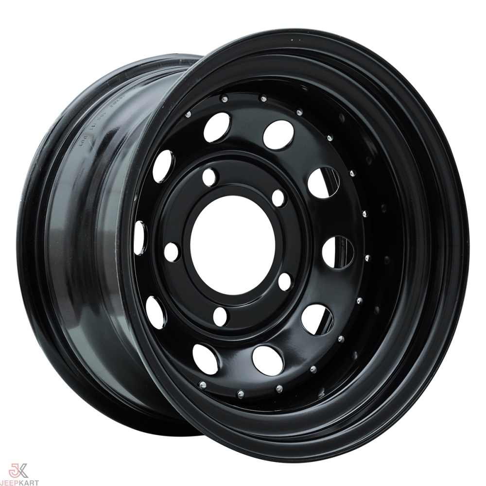 16x8 5x160 Black Rivet Steel Wheels For Bolero / Thar Crde / Scorpio