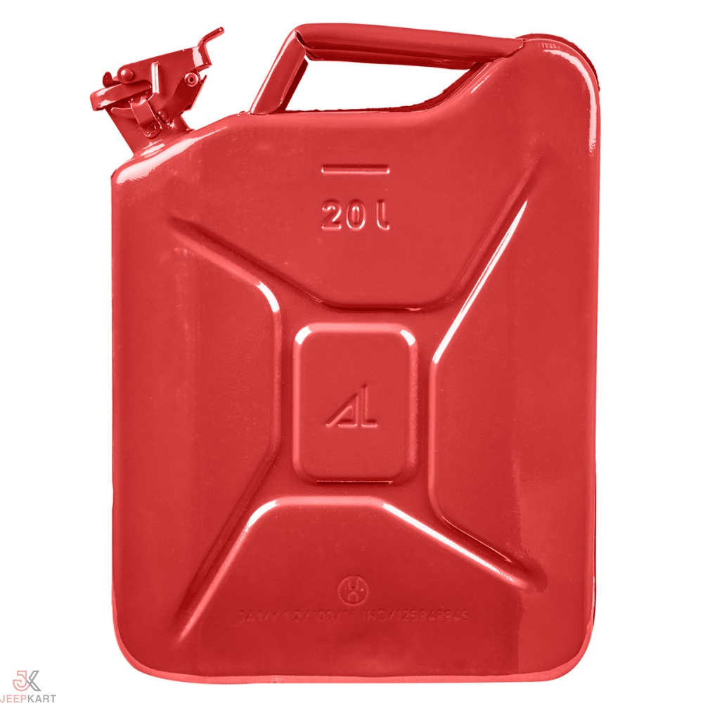Fuelmate 20 Liter Red Metal Jerry Can, 14 Inch x 6 Inch x 18 Inch