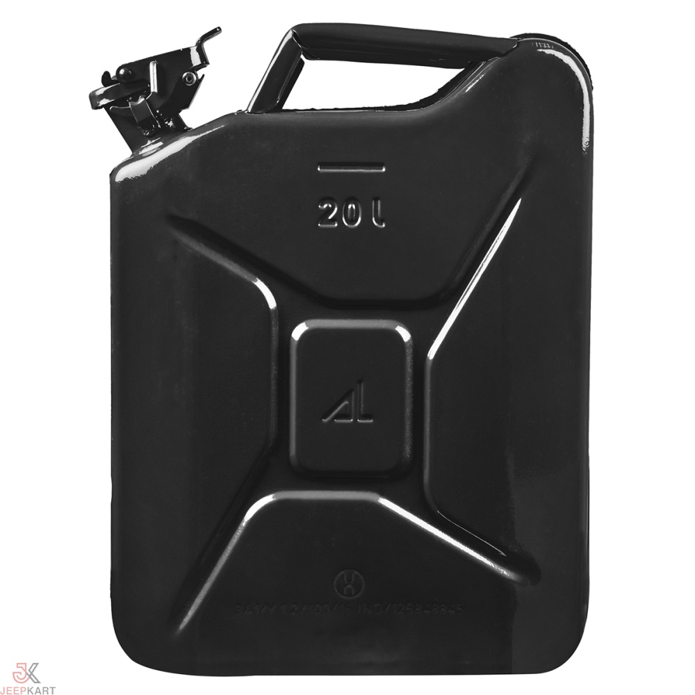 Fuelmate 20 Liter Black Metal Jerry Can, 14 Inch x 6 Inch x 18 Inch