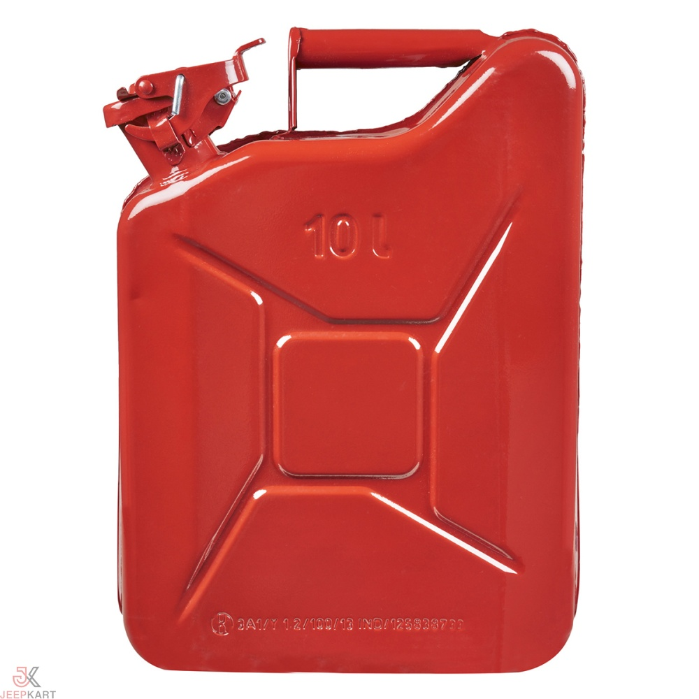 Fuelmate 10 Liter Red Metal Jerry Can, 11 Inch x 5 Inch x 16 Inch