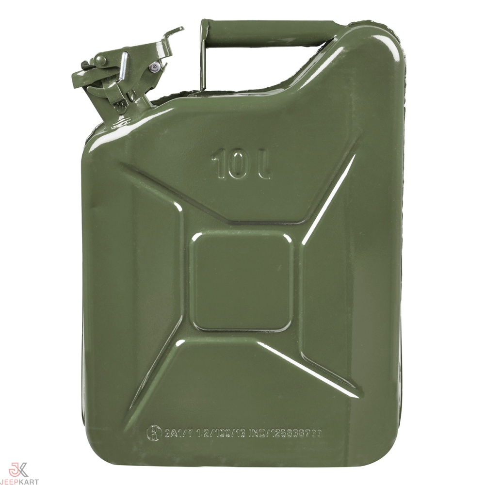 Fuelmate 10 Liter Green Metal Jerry Can, 11 Inch x 5 Inch x 16 Inch