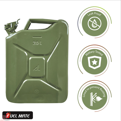 Fuelmate 20 Liter Green Metal Jerry Can, 14 Inch x 6 Inch x 18 Inch for Generators, Jeeps and Other Vehicles