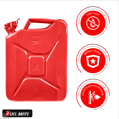 Fuelmate 20 Liter Red Metal Jerry Can, 14 Inch x 6 Inch x 18 Inch for Generators, Jeeps and Other Vehicles