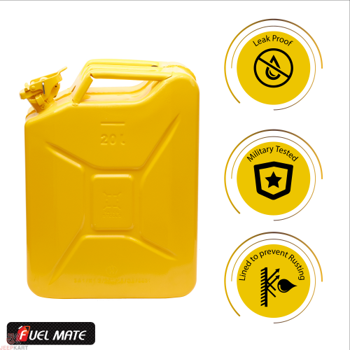 Fuelmate 20 Liter Yellow Metal Jerry Can, 14 Inch x 6 Inch x 18 Inch for Generators, Jeeps and Other Vehicles