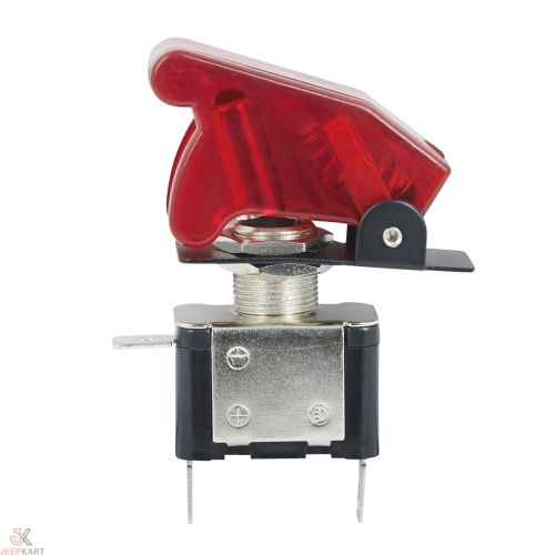 JTI 12V 20Amp. with Red cover, illuminated aircraft/rocket style led toggle switch