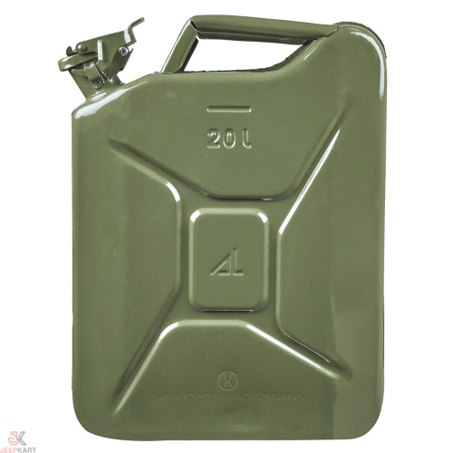 Fuelmate 20 Liter Green Metal Jerry Can, 14 Inch x 6 Inch x 18 Inch