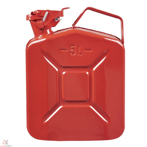 Fuelmate 5 Liter Red Metal Jerry Can, 10 Inch x 5 Inch x 12 Inch