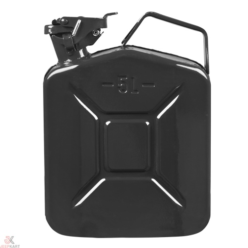 Fuelmate 5 Liter Black Metal Jerry Can, 10 Inch x 5 Inch x 12 Inch
