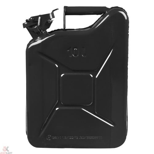 Fuelmate 10 Liter Black Metal Jerry Can, 11 Inch x 5 Inch x 16 Inch
