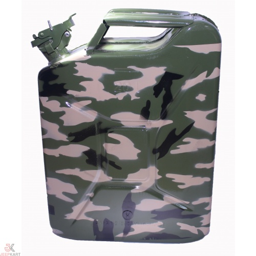 Fuelmate 20 Liter Camouflage/Army Print Metal Jerry Can, 14 Inch x 6 Inch x 18 Inch for Generators, Jeeps and Other Vehicles